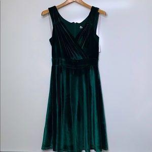 NWT GRACE KARIN Hunter V-Neck Velvet Flare Dress